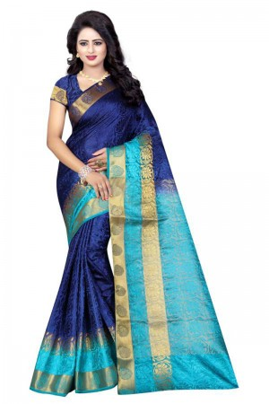 Fabulous Blue Poly Cotton Jacquard Saree