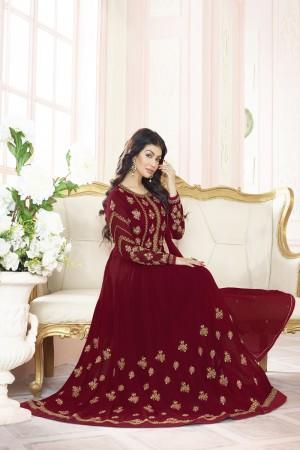 Ayesha Takia Maroon Georgette Heavy Embroidery Thread and Zari Work  Salwar Kameez
