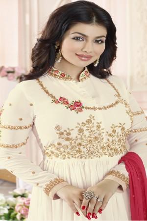 Ayesha Takia Cream Georgette Heavy Embroidery Thread and Zari Work  Salwar Kameez