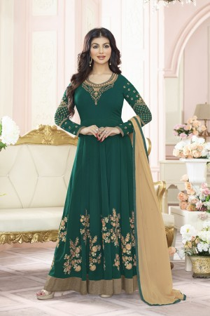 Ayesha Takia Dark Green Georgette Heavy Embroidery Thread and Zari Work  Salwar Kameez
