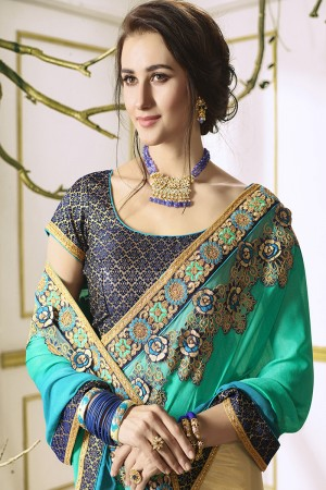 Pleasant Cream&Aqua Georgette & Chiffon Heavy Embroidery Panel Work with Lace Border Saree