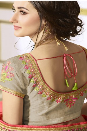 Rust Cream&Pink Georgette & Chiffon Heavy Embroidery Panel Work with Lace Border Saree