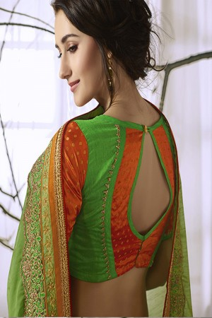 Stylish Green Georgette & Chiffon Heavy Embroidery Panel Work with Lace Border Saree
