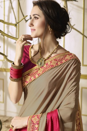 Fab Chocolate Georgette & Chiffon Heavy Embroidery Panel Work with Lace Border Saree