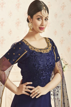 Ayesha Takia Navy Blue Taffeta Silk Heavy Embroidery Thread and Zari Work  Salwar Kameez