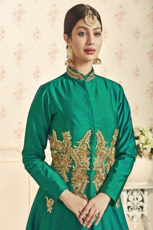 Ayesha Takia Green Taffeta Silk Heavy Embrpodery Patch Work on Top Salwar Kameez