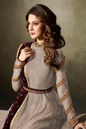 Jennifer Winget Chiku Lycra Jacquard & Net Crafted Embroidery With Beads Diamonds, Glitters, Sequin and Zari work Salwar Kameez