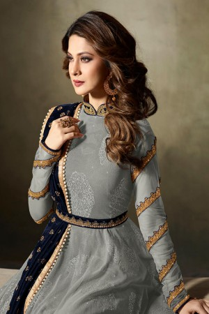 Jennifer Winget Grey Lycra Jacquard & Net Crafted Embroidery With Beads Diamonds, Glitters, Sequin and Zari work Salwar Kameez