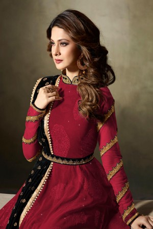Jennifer Winget Red Lycra Jacquard & Net Crafted Embroidery With Beads Diamonds, Glitters, Sequin and Zari work Salwar Kameez