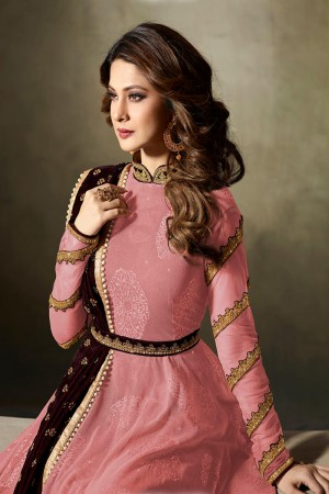 Jennifer Winget Pink Lycra Jacquard & Net Crafted Embroidery With Beads Diamonds, Glitters, Sequin and Zari work Salwar Kameez