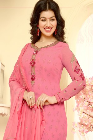 Ayesha Takia Pink Georgette Heavy Embroidery on Neck and Sleeve Salwar Kameez