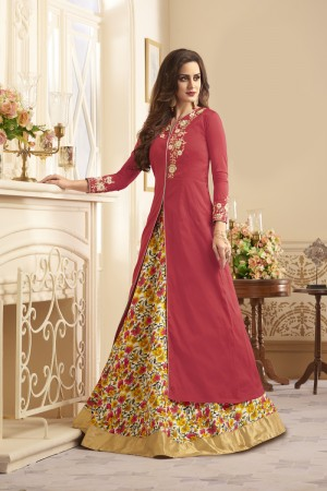 Contemporary Peach Taffeta Silk Heavy Embroidery On Neck and Sleeve  SalwarKameez