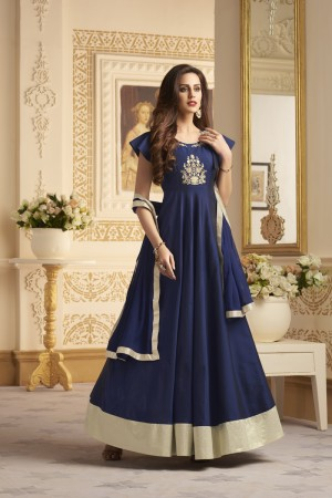 Enticing Navy Blue Taffeta Silk Heavy Embroidery On Neck and Sleeve  SalwarKameez