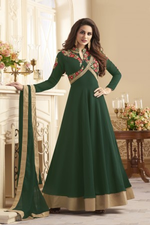 Striking Dark Green Taffeta Silk Heavy Embroidery On Neck and Sleeve  SalwarKameez