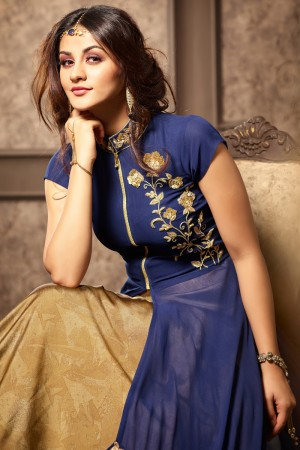 Exuberant Blue Georgette Heavy Embroidery On Neck and lace Border with Printed Lehenga