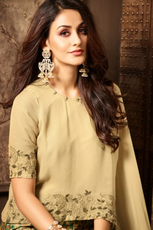 Awesome Cream Georgette Heavy Embroidery On Neck and Sleeve with Printed Lehenga