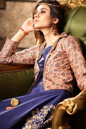 Elegant Blue Silk Heavy Embroidery On Lehenga with Printed Koti
