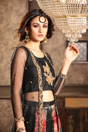 Outstanding Black Net Embroidery On Top and Sleeve with Printed Lehenga