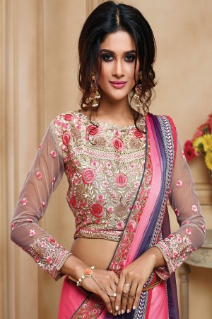 Beguiling Pink& Purple Two Tone Satin Embroidered Border with Embroidery Blouse with Stone Work Saree
