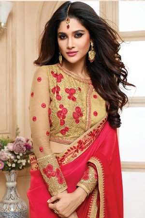 Majestic Red Shaded Satin Embroidered Border with Embroidery Blouse with Stone Work Saree