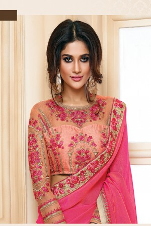 Classic Pink Two Tone Georgette Embroidered Border with Embroidery Blouse with Stone Work Saree