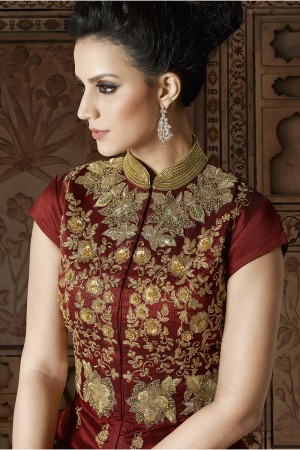 Ambitious Maroon Silk Heavy Embroidery Kali Work and Dupatta with Lace Border Salwar Kameez