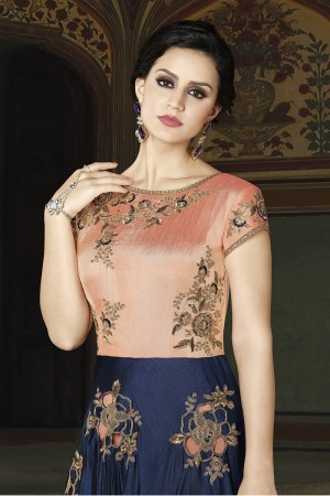 Astounding Orange & Blue Silk Embroidery Butta Work with Emboirdered Lace Border Salwar Kameez