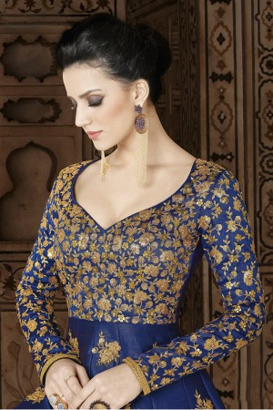 Classic Royal Blue Silk Heavy Embroidery Butta Work on Top and Sequince work on Neck and Sleeve Salwar Kameez