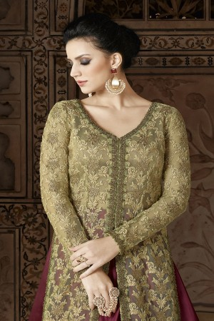 Beguiling Light Green Net Heavy Embroidery Thread Work and Dupatta with Lace Border Salwar Kameez