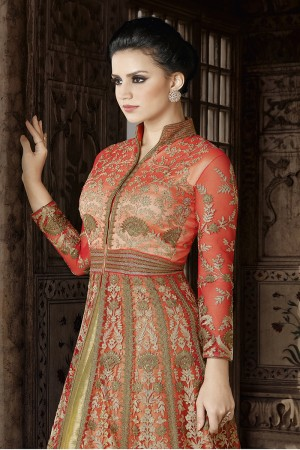 Enriching Orange Net Heavy Embroidery Thread and Zar Kali Work and Dupatta with Lace Border Salwar Kameez