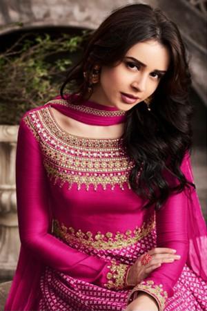 Stupendous Pink Slub Satin Heavy Embroidery On Neck and Sleeve Salwar Kameez