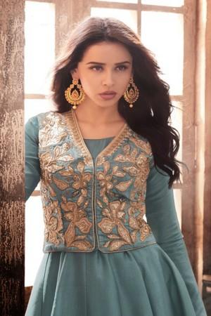 Mind Blowing Aqua Tussar Silk Embroidered Jacket Salwar Kameez