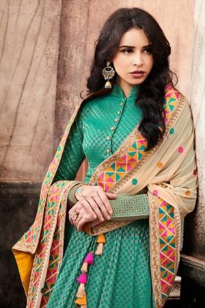 Blissful Rama Green Jacquard Floor Length Anarkali Salwar Kameez