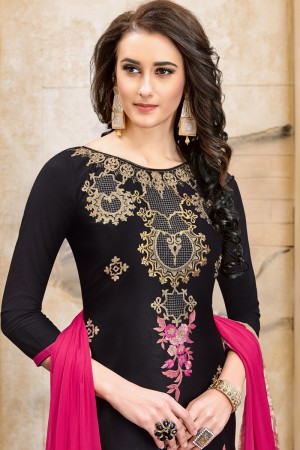 Bewitching Black Chanderi Cotton Embroidery on Neck and Sleeve Dress Material