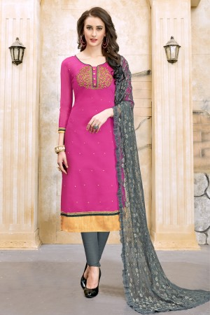 Beautiful Pink Chanderi Cotton Embroidery on Neck and Sleeve Dress Material