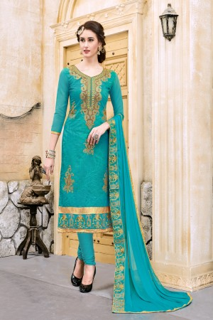 Modish Aqua Chanderi Cotton Embroidery on Neck and Sleeve Dress Material
