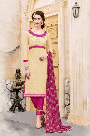 Royal Cream Chanderi Cotton Embroidery on Neck and Sleeve Dress Material