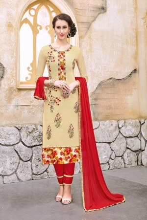 Gorgeous Cream Chanderi Cotton Embroidery on Neck and Sleeve Dress Material