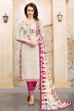 Voguish PureWhite Chanderi Cotton Embroidery on Neck and Sleeve Dress Material