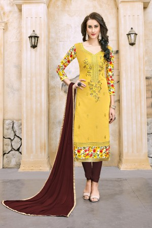 Attractive Yellow Chanderi Cotton Embroidery on Neck and Sleeve Dress Material