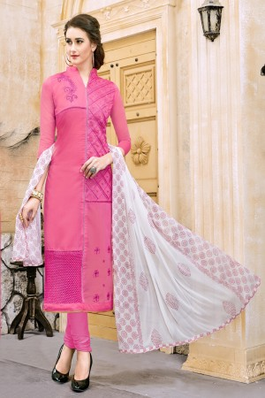 Graceful Pink Chanderi Cotton Embroidery on Neck and Sleeve Dress Material
