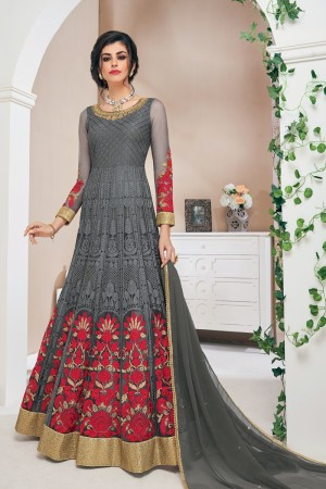 Stunning Grey Net Chain Stitch Embroidery Thread and Zari Work with Stone, Sequance and Cording Work Salwar Kameez