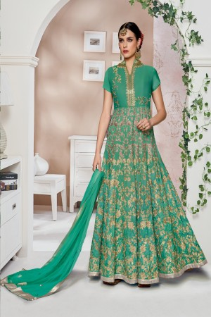 Luscious Green Malbari Silk Chain Stitch Embroidery Thread and Zari Work with Stone, Sequance and Cording Work Salwar Kameez