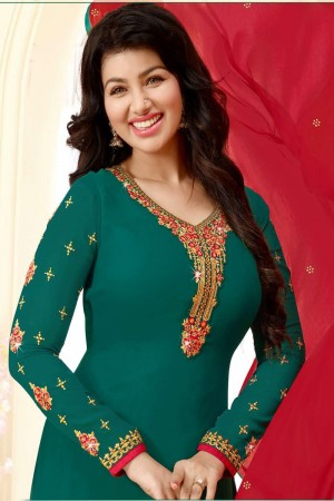 Ayesha Takia DarkGreen Georgette Heavy Embroidery on Neck and Sleeve Salwar Kameez