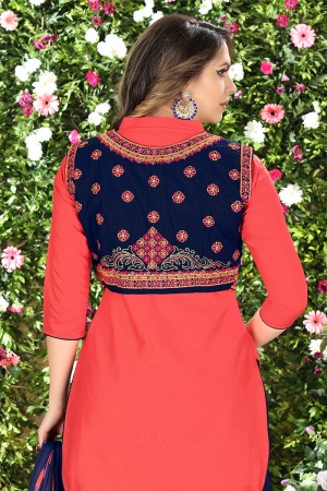 Distinctive Orange Glaze Cotton Heavy Embroidery on Neck and Sleeve Dress Material