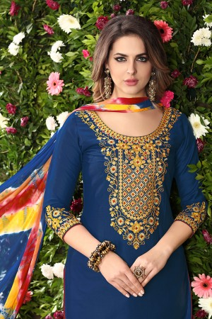 Dreamy Blue Glaze Cotton Heavy Embroidery on Neck and Sleeve Dress Material