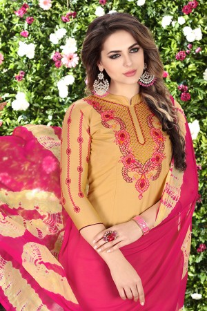 Divine Beige Glaze Cotton Heavy Embroidery on Neck and Sleeve Dress Material