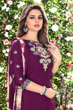 Classy Wine Glaze Cotton Heavy Embroidery on Neck and Sleeve Dress Material