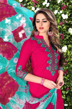 Designer RaniPink Glaze Cotton Heavy Embroidery on Neck and Sleeve Dress Material