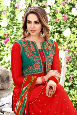 Alluring Red Glaze Cotton Heavy Embroidery on Neck and Sleeve Dress Material